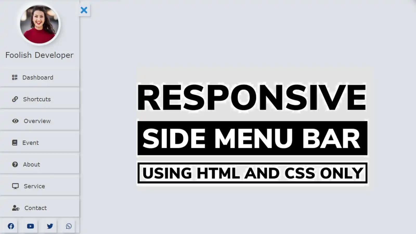 Neumorphism Sidebar Menu Using HTML and CSS