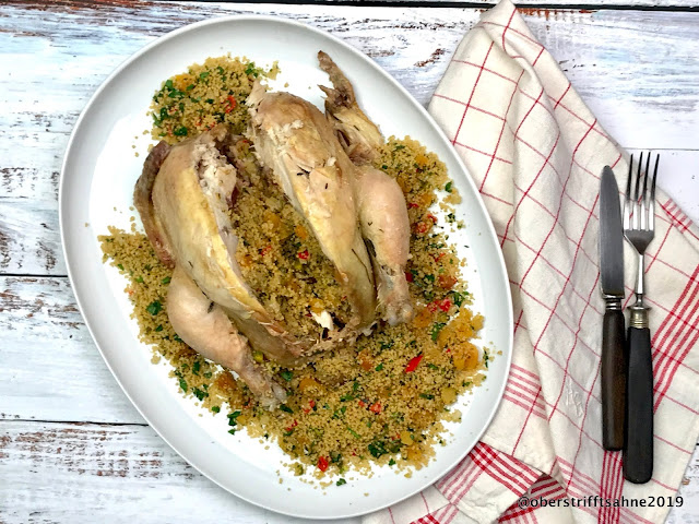 Huhn im Salzteig gefüllt mit Couscous orientalisch