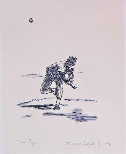 Nolan Ryan - 1979 pen and ink drawi g by F. Lennox Campello done while at art school