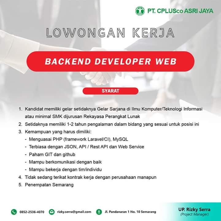 Lowongan Kerja Backend Developer Web Dan Frontend Developer Web Remote Semarang Loker Swasta