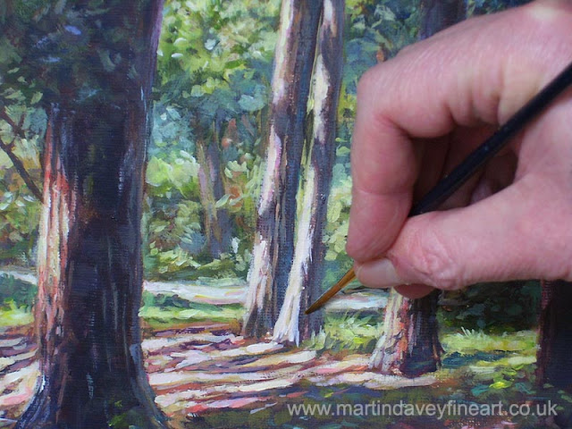 hampshire forest WIP acrylic art brush painted