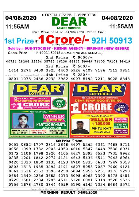Lottery Sambad Result 04.08.2020 Dear Admire Morning 11:55 am