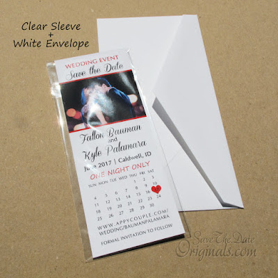 Ticket save the date magnet envelopes