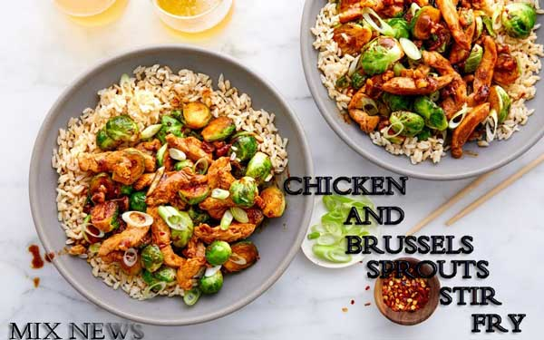 CHICKEN AND BRUSSELS SPROUTS STIR FRY