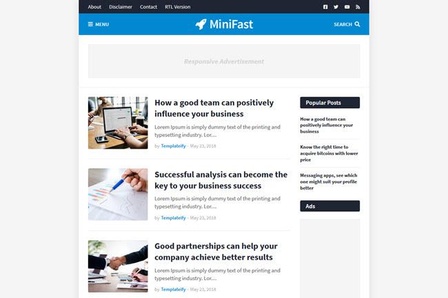 MiniFast free premium blogger templates
