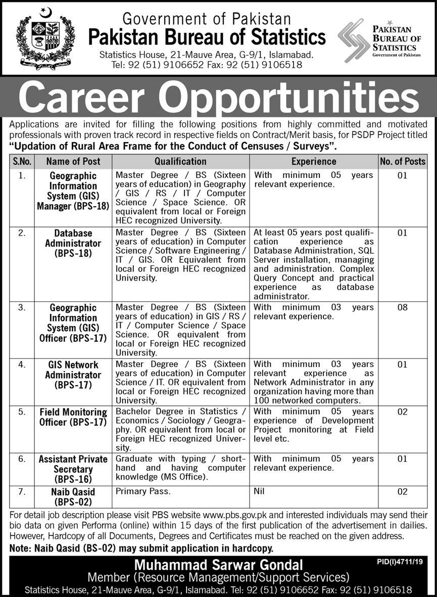 Pakistan Bureau of Statistics Jobs 2020 - Latest Federal Govt Jobs 2020