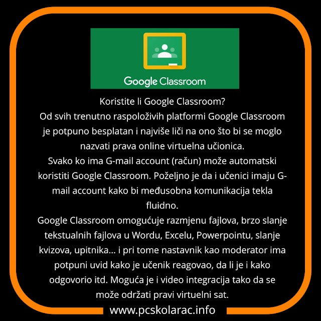 DIGITALNI ALATI - GOOGLE CLASROOM - VIRTUELNA UČIONICA