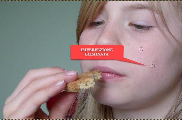 eliminazione della imperfezione con lo strumento cerotto di gimp