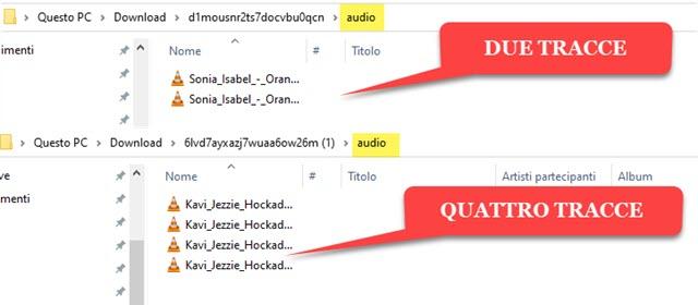 tracce separate estratte dai file MP3