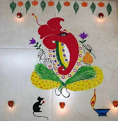 Latest Ganpati Rangoli Design for Happy New Year