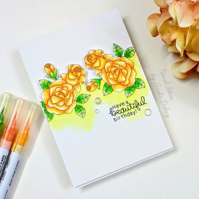 Have a beautiful birthday by Anila features Roses by Newton's Nook Designs; #newtonsnook, #inkypaws, #cardmaking, #floralcards