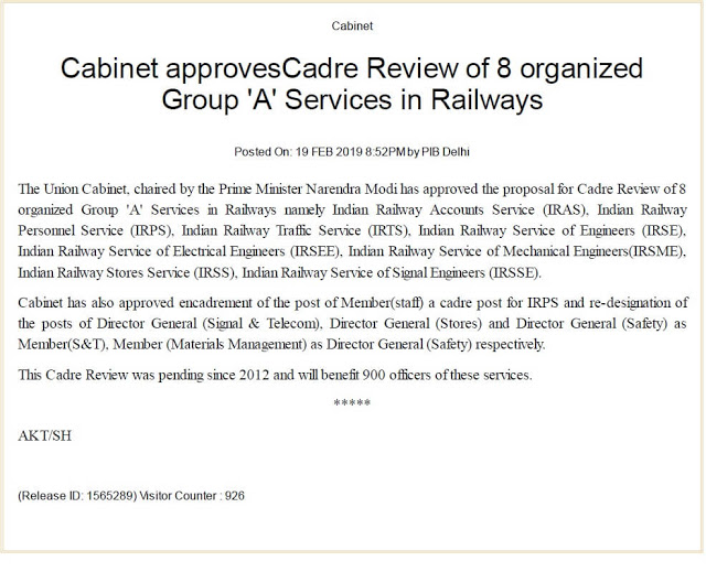 cadre-review-of-8-organized-group-a-services-in-railways