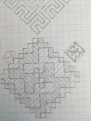 A spiral motif formed from intersecting diagonal lines, drawn in pencil on graph paper, with the backwards turns shaded in, next to a smaller schematic of the draft