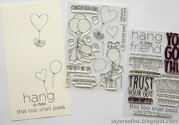Layers of ink - Balloons, hearts and a cute turtle. Encouragement card tutorial by Anna-Karin Evaldsson. Stamp the images.