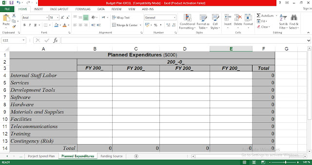Planned Expenditures Template