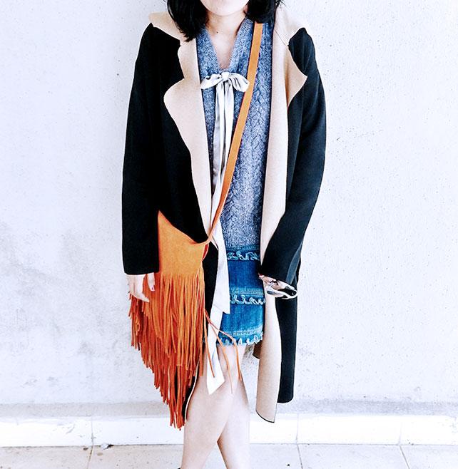 blue handmade sweater vest, mango black knit duster coat, topshop orange fringe bag