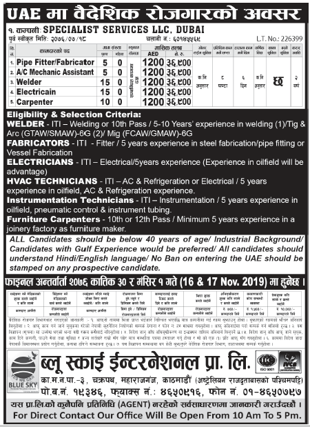 Jobs in UAE for Nepali, Salary Rs 36,900