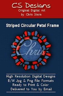 Circular Petal Frame digital stamp