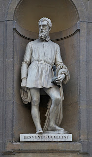 There is a statue of Cellini in the  Piazzale degli Uffizi