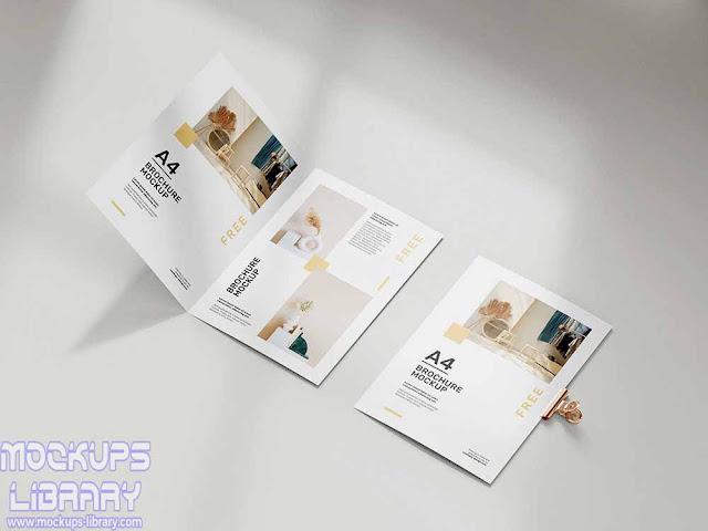folded a4 brochure mockup