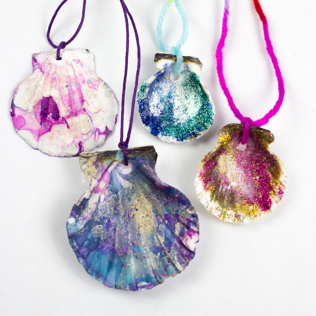 How to Make Marbled and Sparkly Shell Necklaces for Summer- Great for all mermaid or beach lovers!