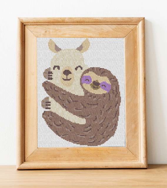 llama and sloth cross stitch design