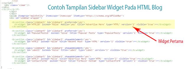 Cari kode widget seperti gambar
