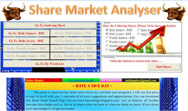 Let us share our knowledge: Share Market Analyser