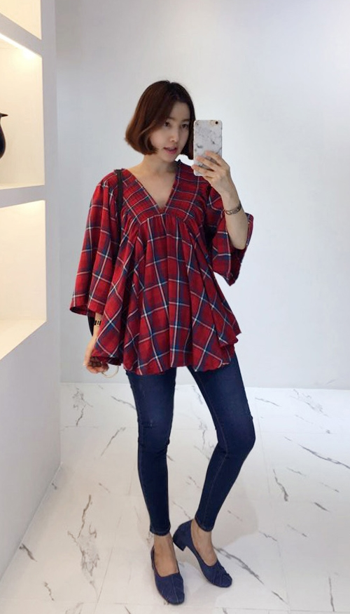 Check V-Neck Loose Fit Blouse