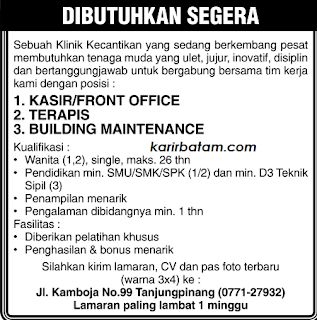 Lowongan Kerja Beuty Therapyst Tanjung Pinang