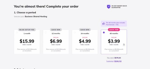 long period plan buy in hostinger