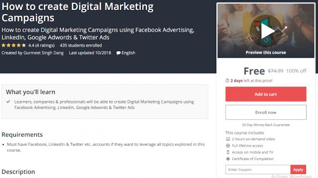 [100% Off] How to create Digital Marketing Campaigns| Worth 74,99$