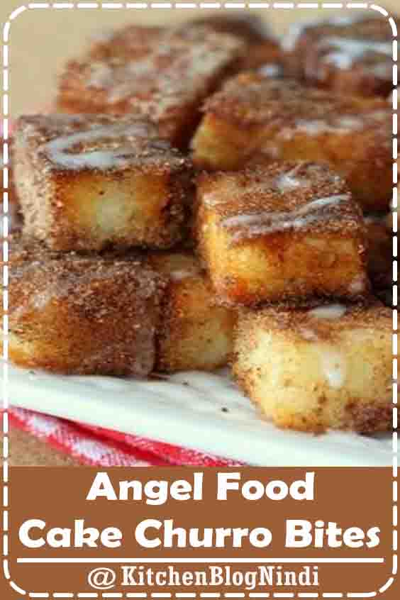 4.8★★★★★ | Angel Food Cake Churro Bites - a delicious sugar and cinnamon treat topped with glaze! #AngelFood #Cake #ChurroBites
