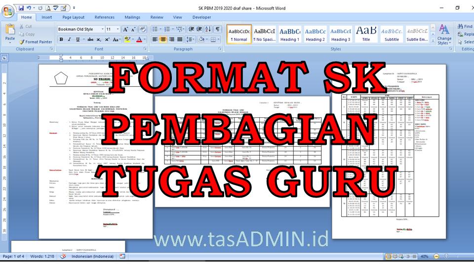 Contoh Format Sk Pembagian Tugas Mengajar Atau Pbm Tasadmin