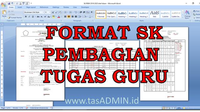 format sk pembagian tugas jam beban guru