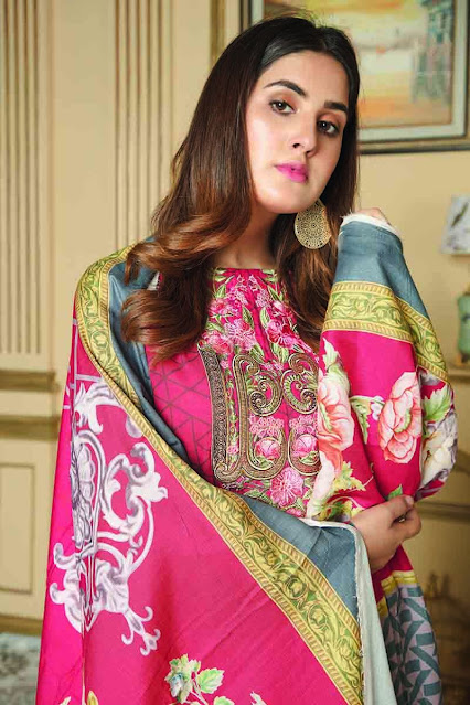 Gul ahmed winter unstitched pink colour khaddar suit