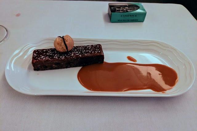 Emirates Business Class menu: chocolate brownie