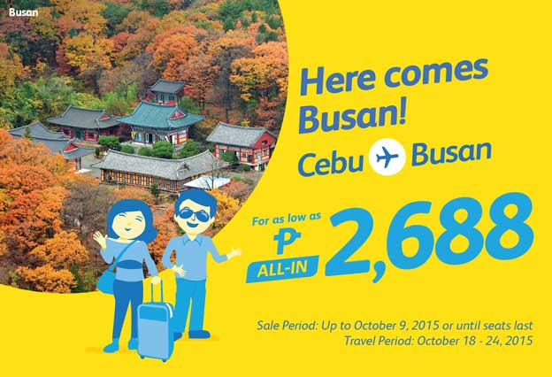 Cebu Pacific Promo Ticket Cebu to Busan 2015