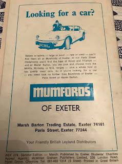 Mumfords Of Exeter Rag Mag Advert