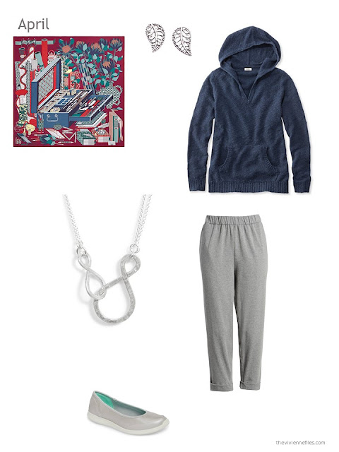 a spring outfit in navy and grey