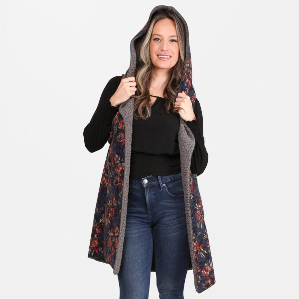 floral Fall vest with sherpa lining