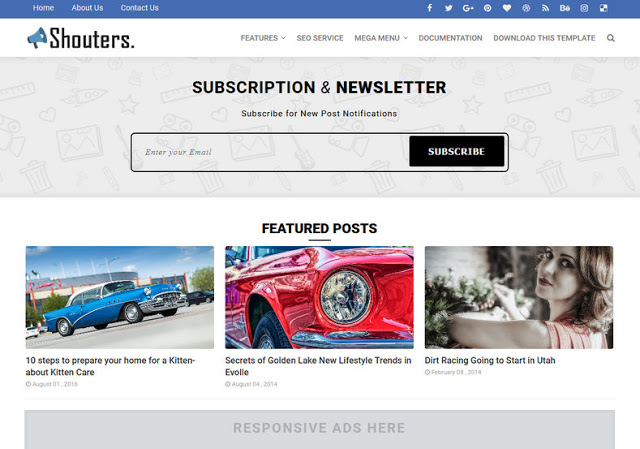 Shouters mobile friendly blogger template
