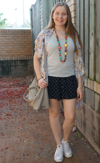 print mixing shorts and kimono and converse summer outfit | away from the blue