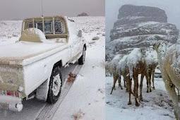 Viral Salju Kembali Selimuti Arab Saudi, Pertanda Apakah Ini ?