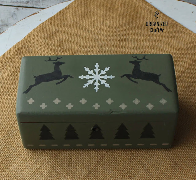 Wooden Boxes Upcycled As Christmas Decor With Paint And Old Sign Stencils