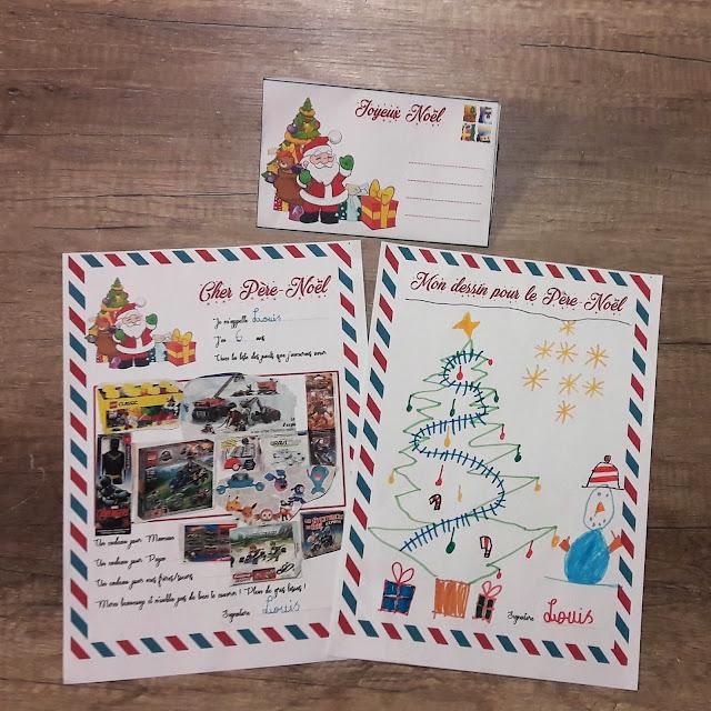 lettre pour le père noel enveloppe dessin à imprimer liste illustrée enfants kit gratuit