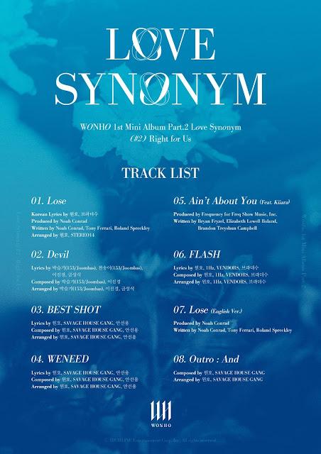 wonho love synonym right for us tracklist