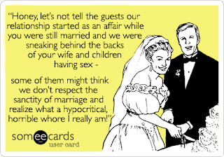 cheating husband marrying his mistress greeting card