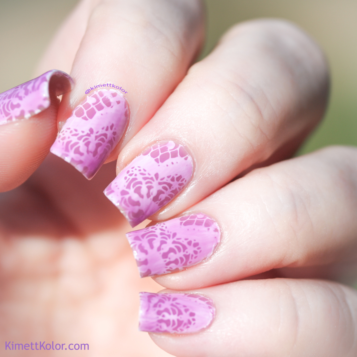 KimettKolor lilac lace stamping nail art