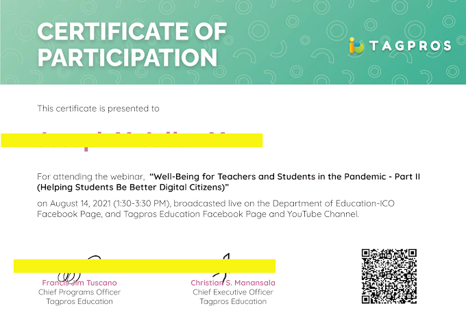 Tagpros Day 2 Certificate of Participation | August 14 now ready for download